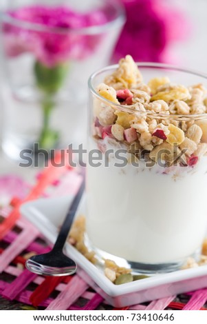 Natural yogurt with muesli in small glass - stock photo