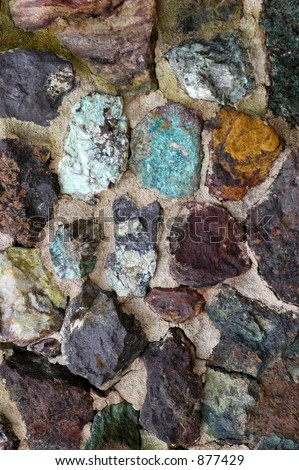 naturally colorful rock wall - stock photo
