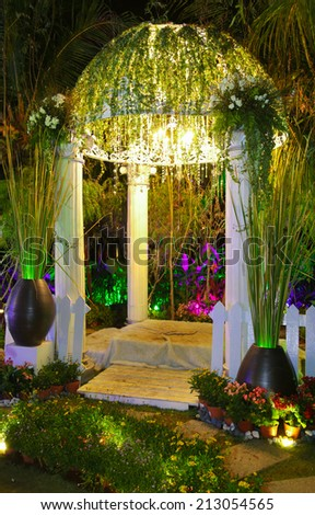 Naturally decorated arch dome with plants and flowers at FLORIA event held in Putrajaya, Malaysia. - stock photo