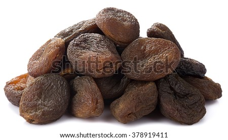 Naturally dried  apricots isolated on white background. - stock photo