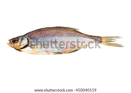 Naturally dried vimba (zanthe) fish isolated on white background - stock photo