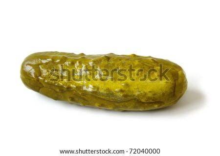 Naturally Fermented Full Sour Pickle isolated on White Background - stock photo