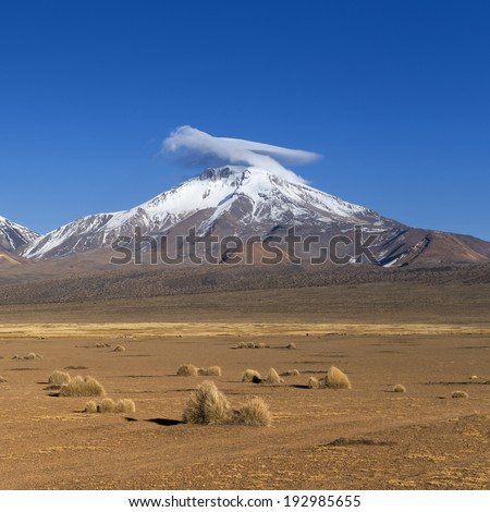 Nature and landscapes of mountain Bolivia. Saline soils, stony deserts, salty lakes, volcanoes and deep blue sky.