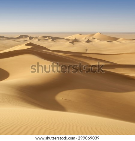 Nature and landscapes of the desert. Annual growth of the area of sand. Global warming on the planet. Climatic changes on Earth. - stock photo