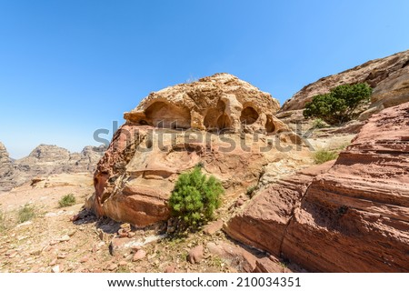 Nature and rocks in Petra, the capital of the kingdom of the Nabateans in ancient times. UNESCO World Heritage