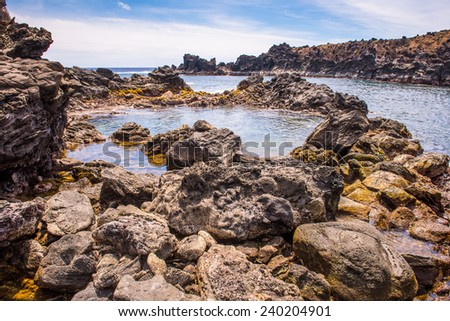 Nature and rocks of the Easter Island, Chile, Pacific Ocean - stock photo