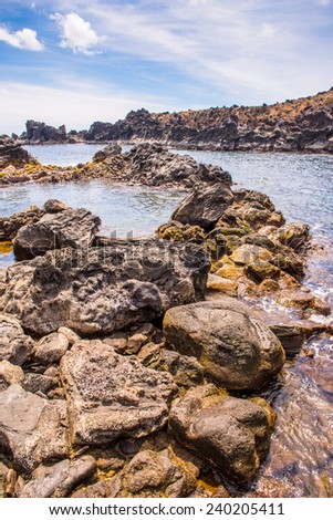 Nature and rocks of the Easter Island, Chile, Pacific Ocean