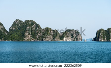 Nature and rocks of the Halong Bay, Indochina sea, Vietnam. UNESCO World Heritage - stock photo