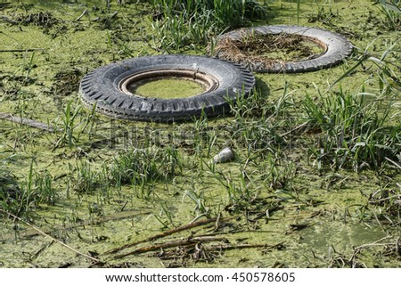 Nature and water pollution  - stock photo