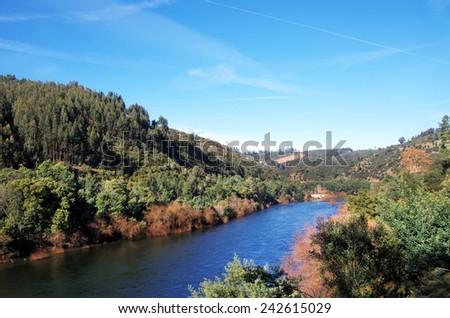 nature at river Zezere, Tomar (Portugal)  - stock photo