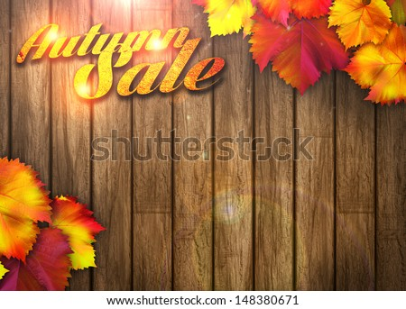 Nature autumn sale design background with space - stock photo