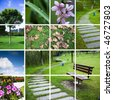 nature background about the scene of city in garden and park. - stock photo