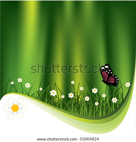 Nature background. flower and butterfly.