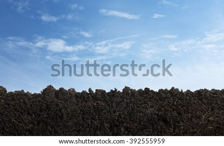 Nature background. Side view of soil surface, texture isolated on white background