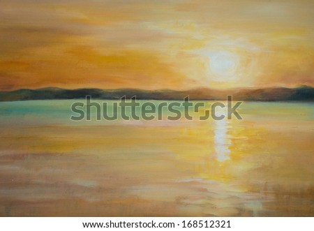 Nature background with sunset over lake.Picture created with acrylic colors. - stock photo
