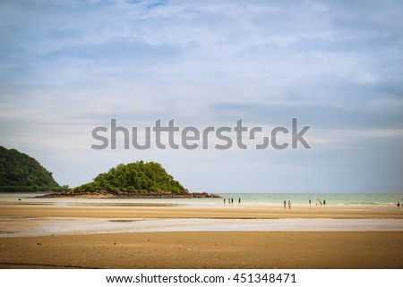 Nature beautiful Sand beach background which including of sea sand sky and summer day. - Vintage Tone