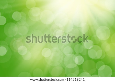 Nature blurred bokeh background with sunlight