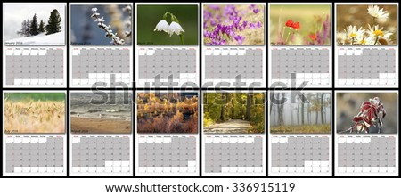 nature calendar year 2016, layout with all months - stock photo
