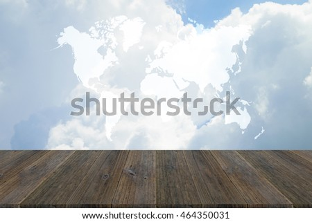 Nature cloudscape with blue sky and white cloud with Wood terrace and world map (Outline elements of world map image from NASA public domain)