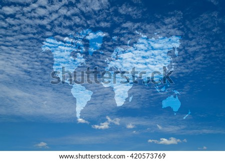 Nature cloudscape with blue sky and white cloud with world map