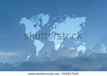 Nature cloudscape with blue sky and white cloud with world map - stock photo