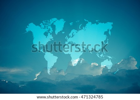 Nature cloudscape with blue sky and white cloud with world map , process in vintage style (Outline elements of world map image from NASA public domain)