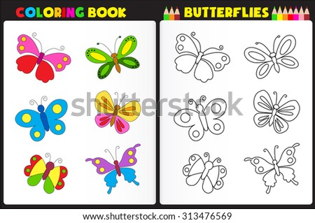 Nature coloring book page for preschool children with colorful butterflies