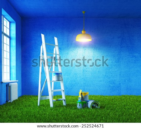 nature colors room painting. 3d concept - stock photo