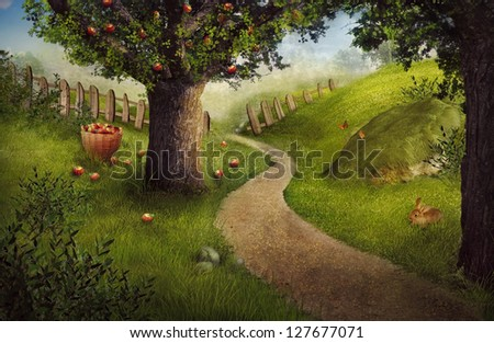 Nature design - apple orchard. Easter concept background. Summer fruit garden harvest with apple orchard and rabbit - stock photo