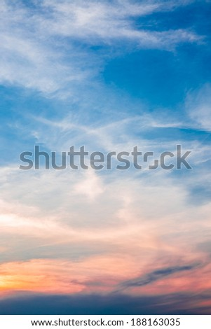 Nature design white cloud and beautiful sky in twilight time
