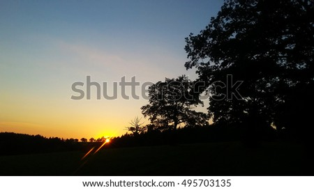 Nature evening sky  nightfall landscape