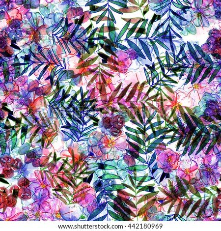 nature flowers and leaves watercolor seamless pattern background - stock photo