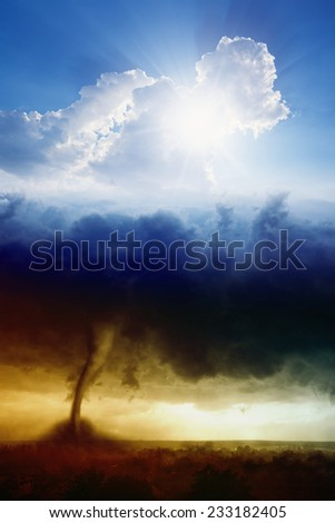 Nature force background - blue sky with sun and dark stormy sky with tornado, heaven and hell, good and evil - stock photo