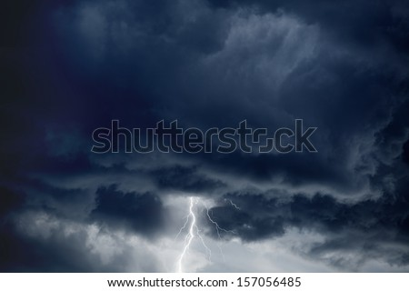 Nature force background - bright lightning in dark stormy sky  - stock photo