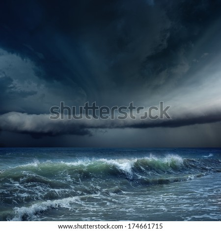 Nature force background - dark stormy sky and sea, ocean, climate change concept, weather forecast