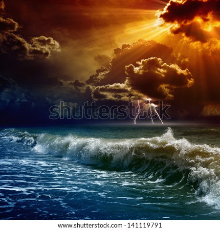 Nature force background - lightnings in dark red sunset sky, stormy sea - stock photo