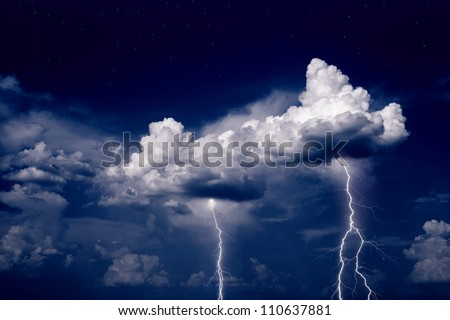 Nature force background - lightnings in stormy sky - stock photo