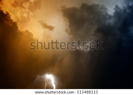 Nature force background - lightnings in stormy sky with dark clouds - stock photo