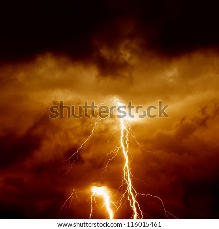 Nature force background - lightnings in stormy sky with dark red clouds - stock photo