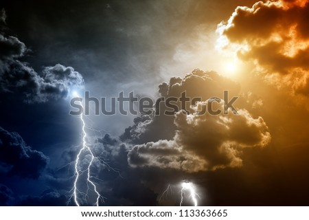 Nature force background - lightnings in sunset sky with dark clouds and rain - stock photo
