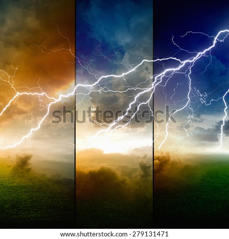 Nature force background - powerful lightning in dark stormy sky with glowing horizon, weather forecast concept, climate change concept - stock photo