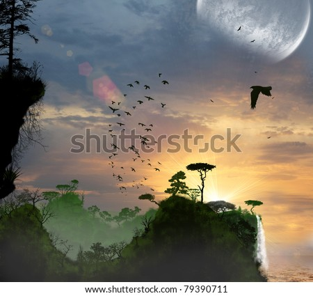 nature, forest, lake, in the evening - stock photo