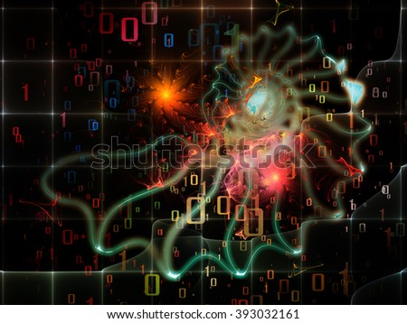 Nature Geometry series. Composition of mathematical swirls and fractals on the subject of math, geometry, design, education and science - stock photo