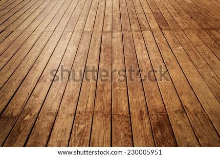nature good Perspective warm wooden floor texture - stock photo