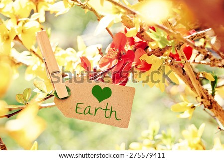 nature greeting card background - loving earth - stock photo
