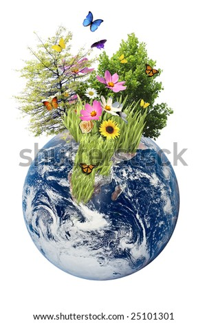 Nature growing out of an isolated Earth - stock photo