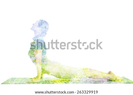 Nature harmony healthy lifestyle concept - double exposure image of  woman doing yoga asana Upward Facing Dog Pose (Back Bend) (Urdhva Mukha Svanasana) asana exercise isolated on white background - stock photo