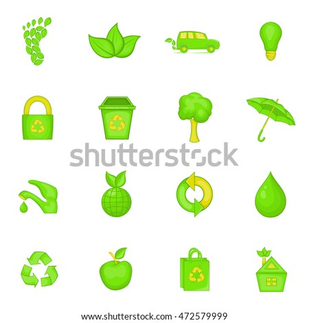Nature icons set in cartoon style. Ecology, eco set collection  illustration