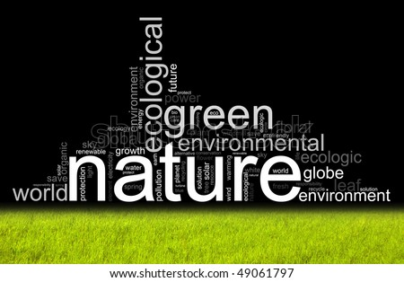 Nature illustration with manz different terms like natur or world - stock photo