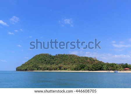 Nature Islands in the sky is clear and beautiful at Ko Yao Yai island in Thailand - stock photo